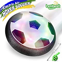 Idea Regalo - Lenbest JT811 Kids Air Power Hover Ball, Disco di calcio con paraurti in schiuma morbida e luci LED colorati, Nero/Bianco