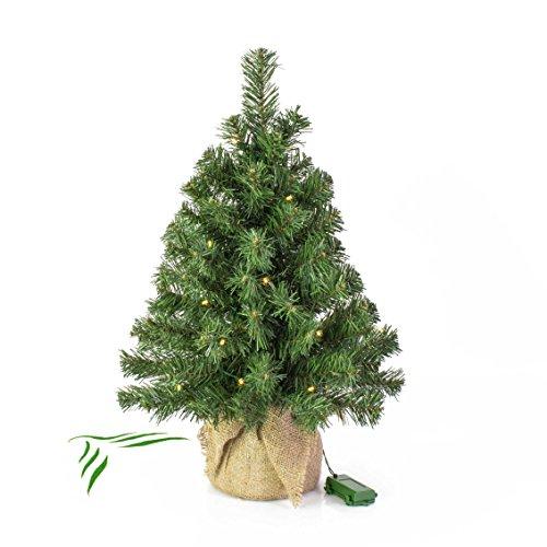 Mini albero di Natale VARSAVIA con LED, sacco di iuta, 60 cm, Ø 40 cm - Albero con luci / Abete di Natale - artplants