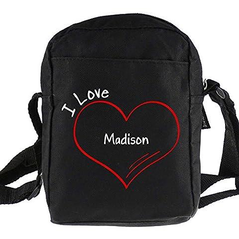 Umhängetasche Modern I Love Madison schwarz (Madison Kaffee)