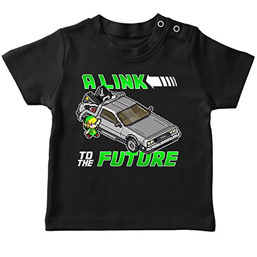 Okiwoki T-Shirt bébé Noir Zelda parodique Link et la Delorean : A Link to The Future ! (Parodie Zelda)