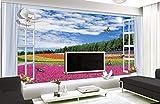 WH-PORP 3D Zimmer Tapete Benutzerdefinierte Wandbild Non-Woven Schöne Landschaft Außerhalb Fenster Der Blume Garten Malerei Fototapete Für Wände 3D-250cmX175cm