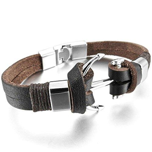 adisaer-acier-inoxydable-gourmette-hommes-bracelet-charms-brun-ancre-argent-biker-nautique