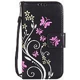 Nancen Tasche Hülle für,Samsung Galaxy S4 Hülle,Samsung Galaxy S4 / I9500 (5 Zoll) Leder Wallet Tasche Brieftasche Schutzhülle, Prägung Schmetterling Muster