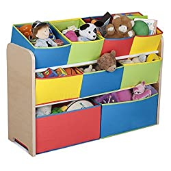 Toy Organizer Kids 9 Bins Organization 9 Drawers 3 Shelves Divided Storages Multi Bin Childrens Playroom Bedroom Super Size