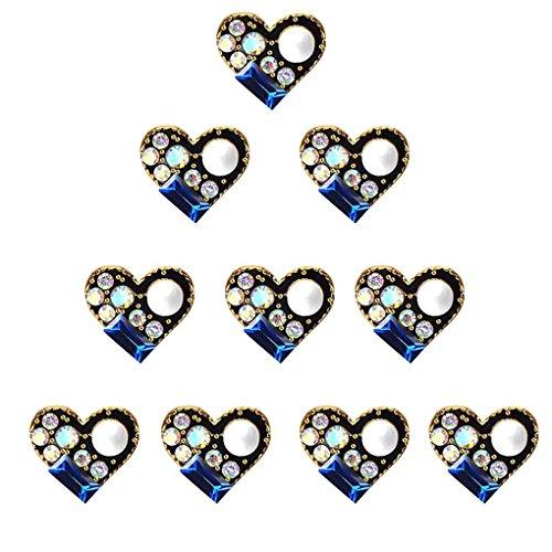 Meisijia 10pcs / Set 3D Glitter Cristal Nail Art Sticker Sequin Rétro métal Style Ovale Ronde Coeur Bijoux d'ongles Décoration Femmes Filles # 812