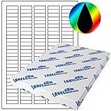 Labelident Etiketten - 32 x 10 mm, rechteckig - Polyester transparent, hochglänzend, permanent haftend - 13500 Aufkleber, DIN A4 Bogen, 100 Blatt
