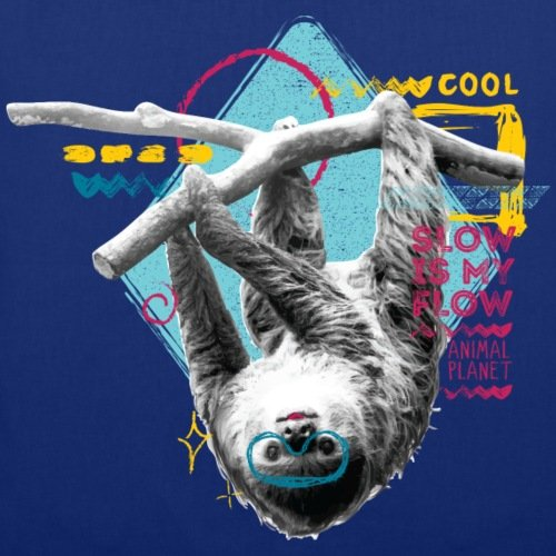 Spreadshirt Animal Planet Faultier Slow Is My Flow Spruch Stoffbeutel Royalblau