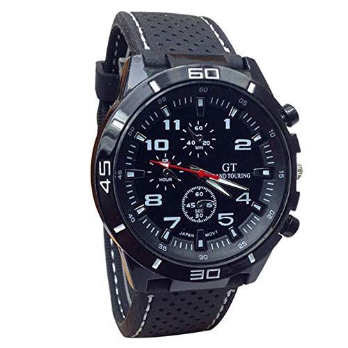 EUZeo Herren Retro Mode Armbanduhren Quarzuhr Männer Militäruhren Casual Sportliche Armbanduhr Silikon Lederband Mode Stunden