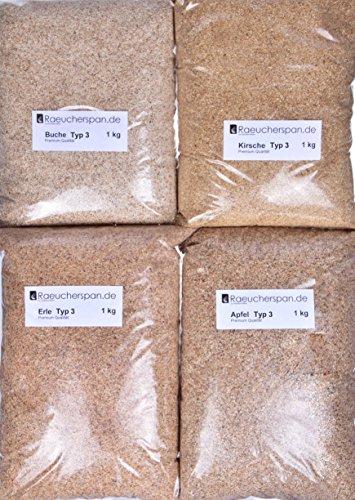 Räuchermehl Räucherspäne Apfel, Kirsche, Erle, Buche Typ3, 4kg, Feinschmeckerpaket (Kirsche Erle)