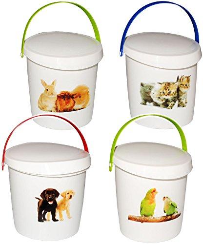 """4 Stück _ Futterboxen / Futterdosen - """" süße Haustiere """" - für Tierfutter - Kleintierfutter / Katzenfutter - Hundefutter - 2 Liter - Vorratsdosen / Aufbewahrungsboxen - aus Kunststoff / Dose - Kiste mit Deckel und Tragegriff - Box & Kiste - Haustiere - Vogelfutter / Hamsterfutter - Tierfutterdose - Trockenfutter / Behälter - Plastikdose - Aufbewahrung - Tierspielzeug"""
