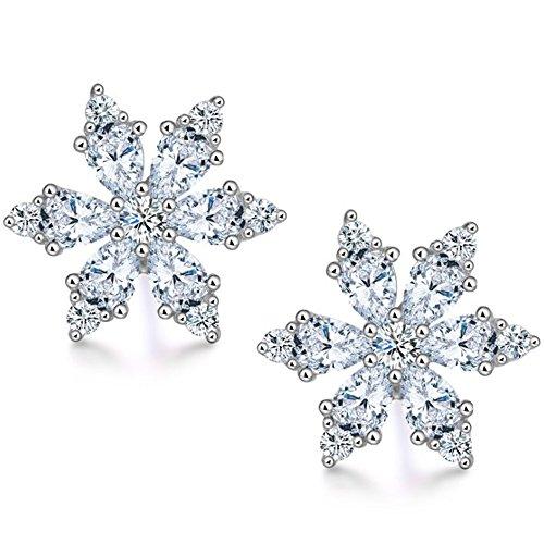 Hanie Schneeflocke Ohrringe für Damen 925 Sterling Silber Schneeflocke Ohrstecker Klein Cluster mit Marquise Weiß AAA Zirkonia CZ für Frauen Mädchen Kinder Perfekt Weihnachtsgeschenk in ()