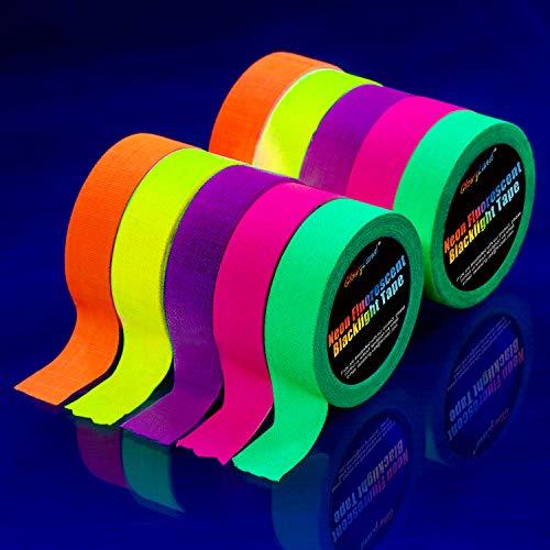 Preisvergleich Produktbild Neon Klebeband [10 Rollen] Neon Gaffa Tape,  UV aktiv Tape,  Fluoreszierendes,  Leuchtband,  5 Farben,  15MM*5M Pro Rolle