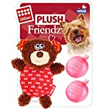 #5: GiGwi Bear 'Plush Friendz' w/refillable squeaker Brown/Red, Small