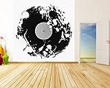 selbstklebende Fototapete - Grunge Schallplatte - schwarz weiss - 200x200 cm - Wandtapete – Poster – Dekoration – Wandbild – Wandposter - Bild – Wandbilder - Wanddeko