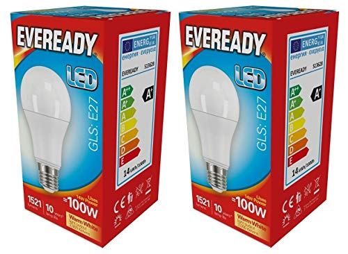 Eveready 2x 14w LED GLS E27 Opal - 830/3000k - Warmweiß (s13628) -