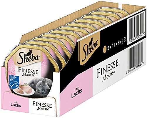 Sheba Finesse Mousse, Cremiges Lachs, Katzenfutter in köstlichen Geschmacksrichtungen