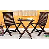 DriftingWood Sheesham Wood Round Coffee Tea Table Set with 2 Folding Chairs for Patio,Balcony,Garden and Outdoor - Rich Walnut Finish