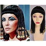 Deluxe Cleopatra Reina Egipcia Negro Oro Trenzado Largo Medio Peluca Disfraz