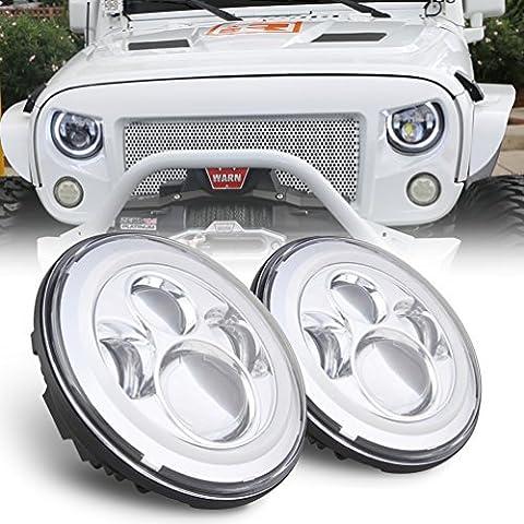 SUNPIE Weiß Jeep Wrangler LED-Scheinwerfer-Birnen mit Halo Angel Eye Ring