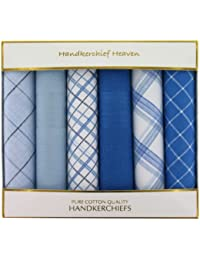 Six Assorted Blue/White Mens Handkerchiefs (HH79) - Plain & Patterned 100% Cotton Men's Handkerchiefs by Handkerchief Heaven