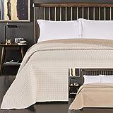 DecoKing Tagesdecke zweiseitig Bettüberwurf doppelseitig pflegeleicht Paul, Polyester, Creme beige, 220 x 240 cm