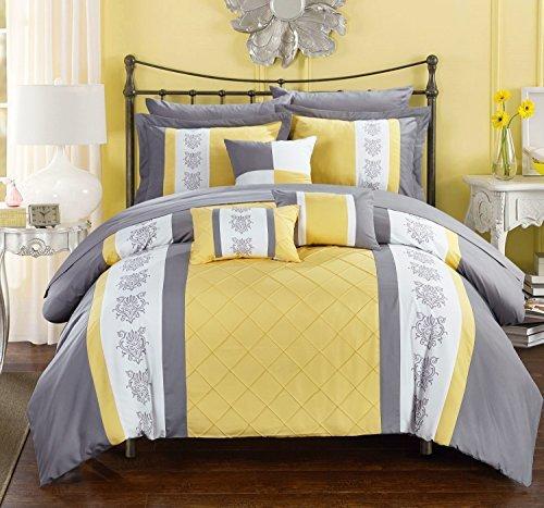 Chic Home 10Stück Clayton Pin Tuck, Block Stickerei Bett in einem Beutel Tröster Set mit Tabelle Set, Queen, gelb
