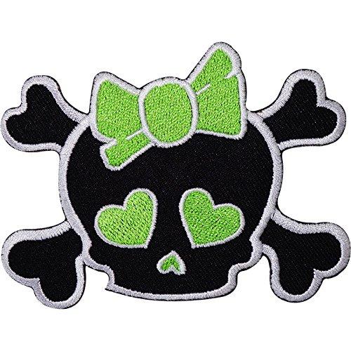 Schwarz Girl Totenkopf grün Schleife Herz gesticktes Eisen auf Sew Patch T Shirt Tasche Badge (Beängstigend T Shirt)