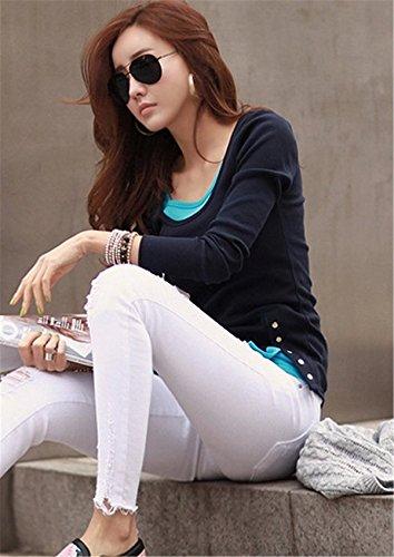 Fanessy Blazer Damen Bluse Langarm Blusen Tops T-Shirts Tunika OL Blau