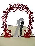 Pu04, Stilvolle 3D Pop Up Karte mit Umschlag zur Hochzeit, filigranes Kunstwerk als Hochzeitskarte, als Glückwunschkarte oder zur Einladung als Einladungskarte, Grußkarte, Glückwunschkarte