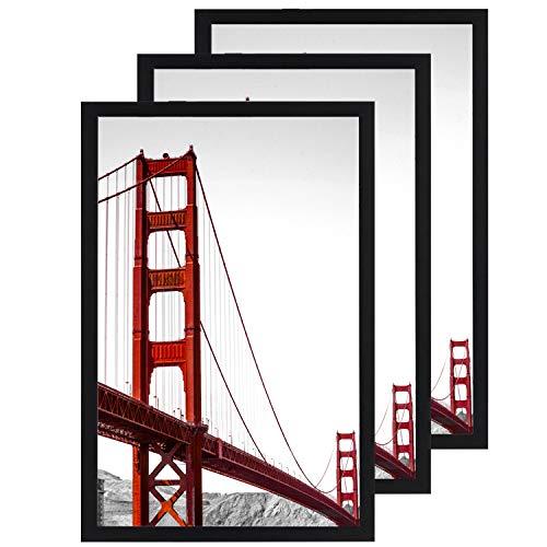 SILD IMhome Bilderrahmen 11 x 14 cm, Schwarz, 3er-Pack, 11x14 Rahmen Rahmen Bilder mit Matte oder 11x14 ohne Matte, Massivholz-Bilderrahmen mit Plexiglas 11x17-3 Pack schwarz (Matte Bild-rahmen Mit)