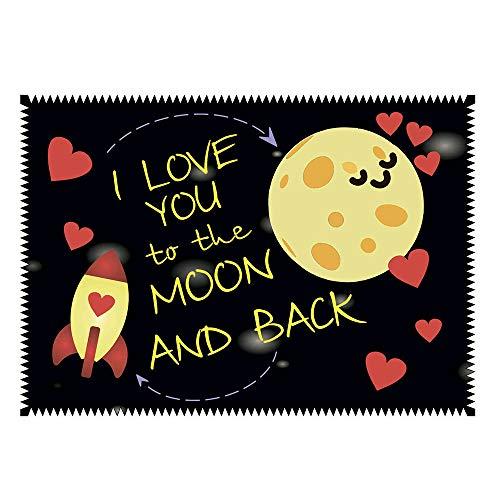 Brillenputztuch Liebe I love you to the moon - Geschenk | Putztuch Displayputztuch Mikrofasertuch mit Wunschbild Foto Wunschtext (I love you to the Moon)