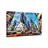 GEIWONIDEAI DIY Pintura Digital con Marco De Madera Pintura, Lienzo Pinte por Number Kit Arte De La Pared Creación, Pintura Decoración Regalo, La Bulliciosa Calle De Nueva York, 60x90cm