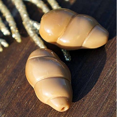 Grande Marrone Mare Shell ceca microsfere di Vetro, conchiglie conchiglie Fossili del Cordone di Conchiglia di Perle Perle a Spirale Crostacei Perline 20mm x 11mm 4pcs