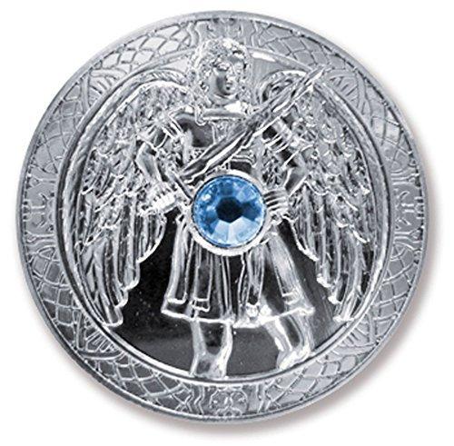 Talisman Schutzengel Engeltaler Erzengel Michael, Ø 27mm Taler Silber mit Swarovski Elements, Glücksbringer, Glücksmünze