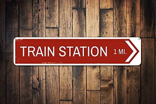 Chukanghe3943 Panneau de signalisation pour Gare de Train avec flèche directionnelle en Aluminium