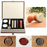 PUQU kit d'étanchéité Cire, Vintage Initiale Lettres A-Z Lettres de l'alphabet en Cire Cachet de Badge kit Cire Lot de boîte de Cadeau .C