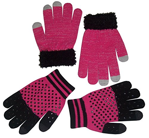 N'Ice Caps Girls Magic Stretch 2 Pair Pack Novelty Gloves (4-14yrs, fuchsia/black/silver) (Color Magic-handschuhe)