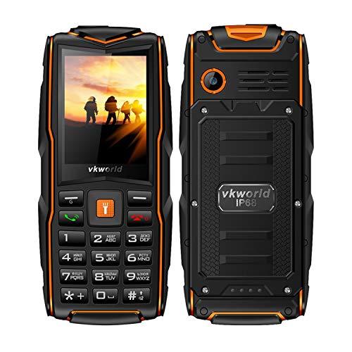 """Outdoor Handy Ohne Vertrag, Vkworld Stone New V3 2G GSM 2.4\"""" IP68 Wasserdicht Stoßfest Staubdicht, 64MB RAM+64MB ROM - Deutsch Handbuch (Orange,Deutsch Handbuch)"""