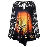 TWIFER Damen Halloween Kostüm Geschenk Dreiviertel Strass Oansatz Herbst Spitze Sweatshirt Blusen