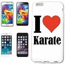 """cubierta del teléfono inteligente Samsung Galaxy S6 """"I Love Karate"""" Cubierta elegante de la cubierta del caso de Shell duro de protección para el teléfono celular Samsung Galaxy S6 … en blanco ... delgado y hermoso, ese es nuestro hardcase. El caso se fija con un clic en su teléfono inteligente"""