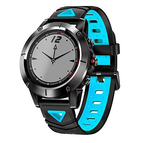 ZUEN 2019GPS Smart Sportuhr Herzfrequenzerkennung, Schrittzähler Sports Track IP68 wasserdichte Information Reminder Smart Bracelet,Blue - Apple 128 Mb-modul