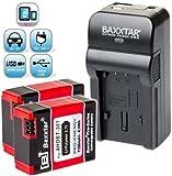 Bundlestar Baxxtar RAZER 600Ladegerät 5in 1mit 2x Akku für GoPro Hero3Hero3+ AHDBT-301AHDBT-302mit Micro USB Eingang und USB Ausgang zum Aufladen von andere mobile Geräte