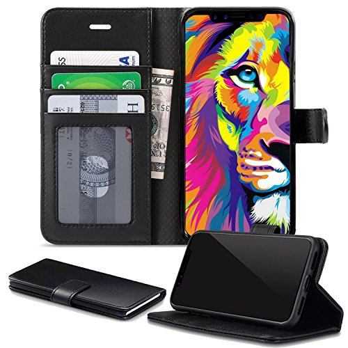 Price comparison product image iPhone X Case,  iPhone X Edition Case Cover,  By DN-Alive [Card Holder] [ID Holder] [Wallet Case] [Black] [Book Case] [Flip Case] [Pu Leather] [Drop Proof] [iPhone X Screen Protector Compatible]