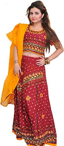 Exotic India Embroidered Lehenga Choli from Jodhpur with Bandhani Print and Mirrors...