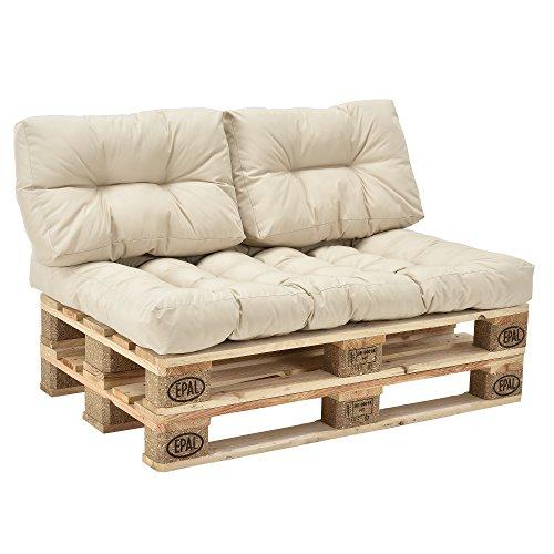 [en.casa] Palettenkissen - 3er Set - Sitzpolster + Rückenkissen [creme] Paletten-Sofa In/Outdoor - 2