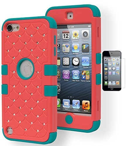 iPod Touch 5 Fall, Bastex Heavy Duty Hybrid Soft Blaugrün Silikon Cover Hartschale Koralle Strass Besetzt Bling Design Schutzhülle für Apple iPod Touch 5 Inklusive Displayschutzfolie