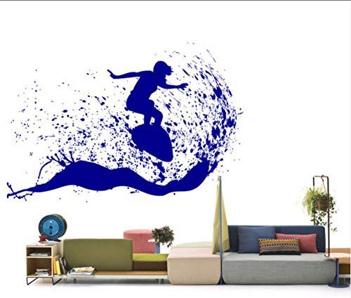 Ponana Schöne Outdoor-Szene Mann Surfen Auf Einem Surfbrett Wand Aufkleber In Den Meereswellen Kunst Vinyl Aufkleber Home Decor Diy 84X57Cm (Outdoor-wand-kunst-szene)