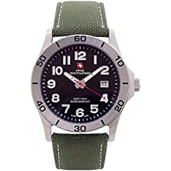 Swiss Mountaineer Mens Sport Watch Green Nylon Canvas Band Large Black Easy Read Dial Date SM8010