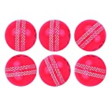 Kosma Set of 6 Wind Ball Cricket Ball | Soft Training Balls | Sports & Outdoors (Pink with White Seam)