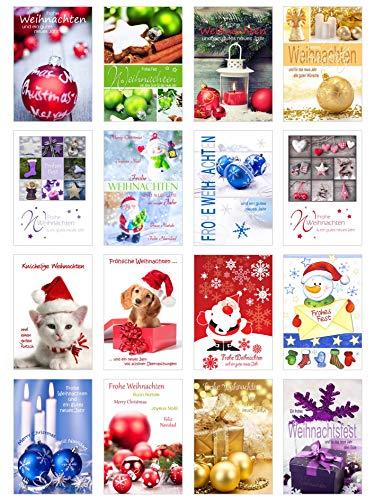 Set 16 Weihnachtskarten mit Umschlag. Weihnachten Karte (Doppelkarten/Klappkarten mit Briefumschlag). Weihnachten Karte Postkarte Weihnachtspostkarte